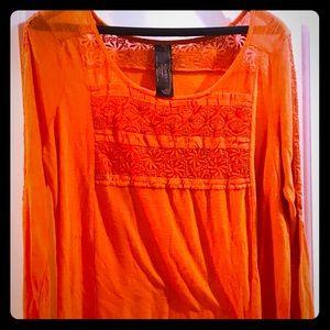 New Romantics FREE PEOPLE Orange Lace Tunic Sz XL